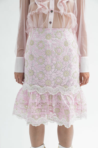 Pink Floral Embroidered Skirt