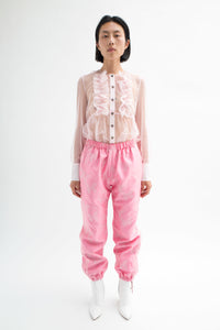 Pink Butterfly Jacquard Kung-Fu Pants