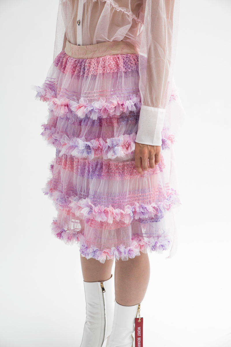 Lilac Tiered Tulle Skirt-50m London
