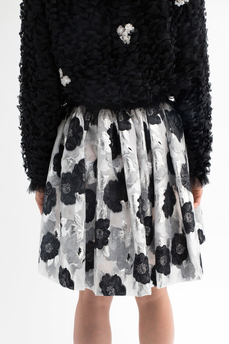 Black Floral Jacquard Skirt