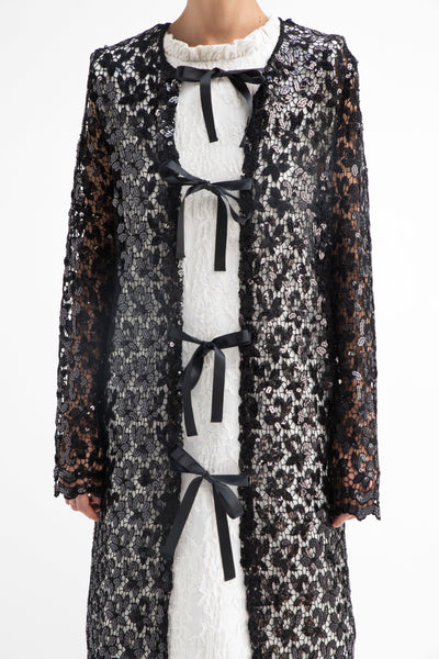 Black Sequined Lace Cardigan - 50m