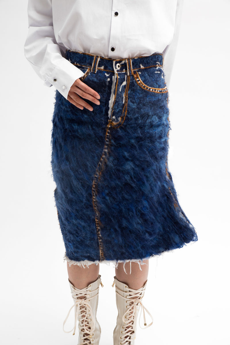 Hand Felted Denim Skirt - MTO