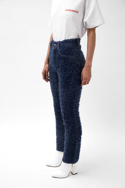 Mohair Navy Brushed Jeans