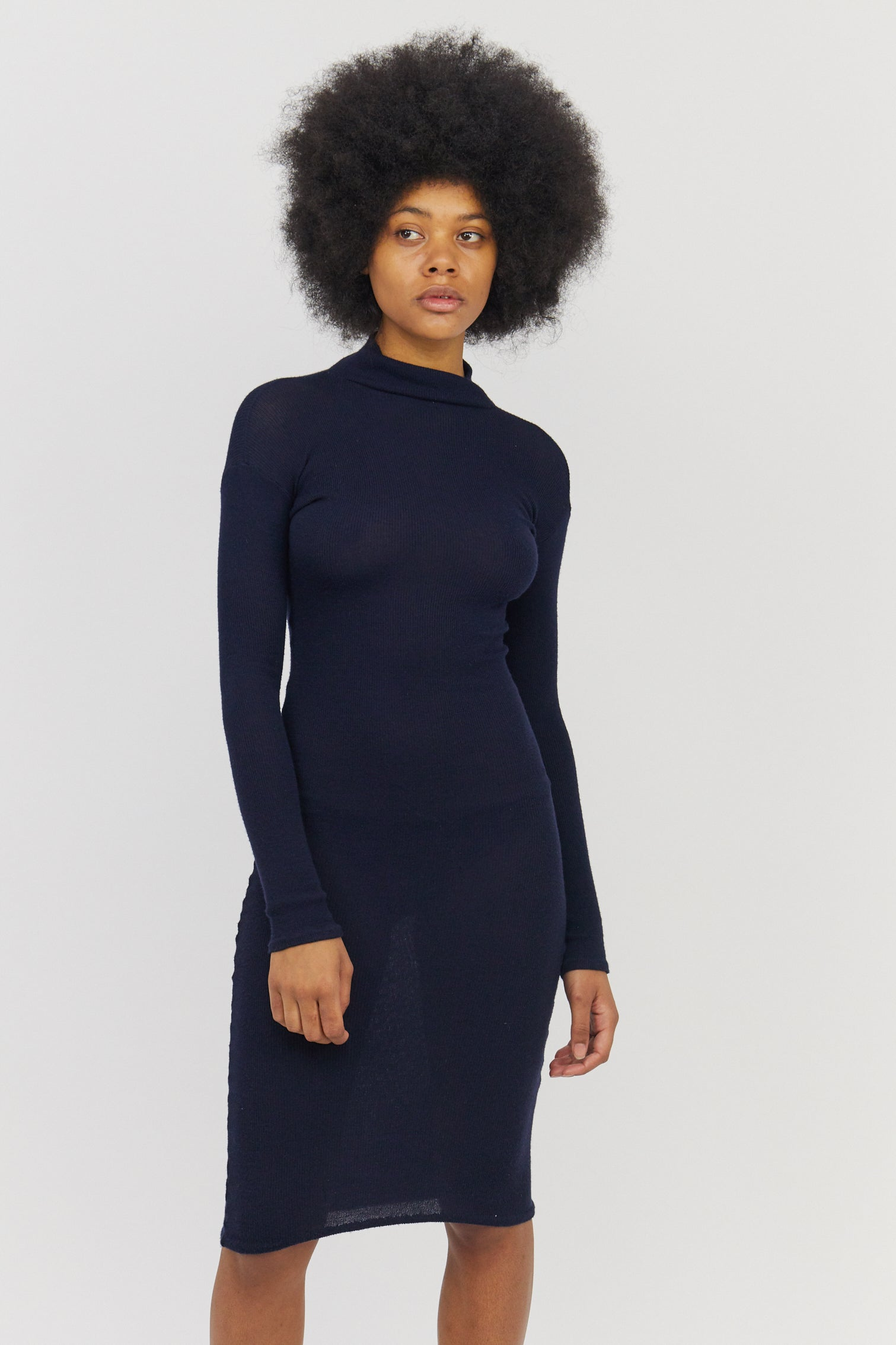Merino Knitted Dress Navy