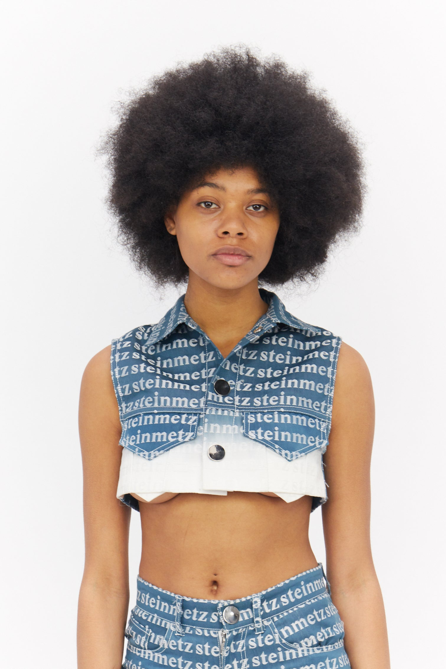 Dip dyed Cropped Jacquard Sleeveless Jacket