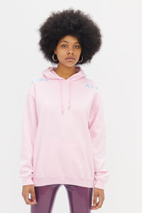 Hoodie in Pink with Blue Embroidery