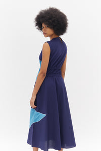 Blue Dress with Elasticated Waist and Embroidered Details - 50m