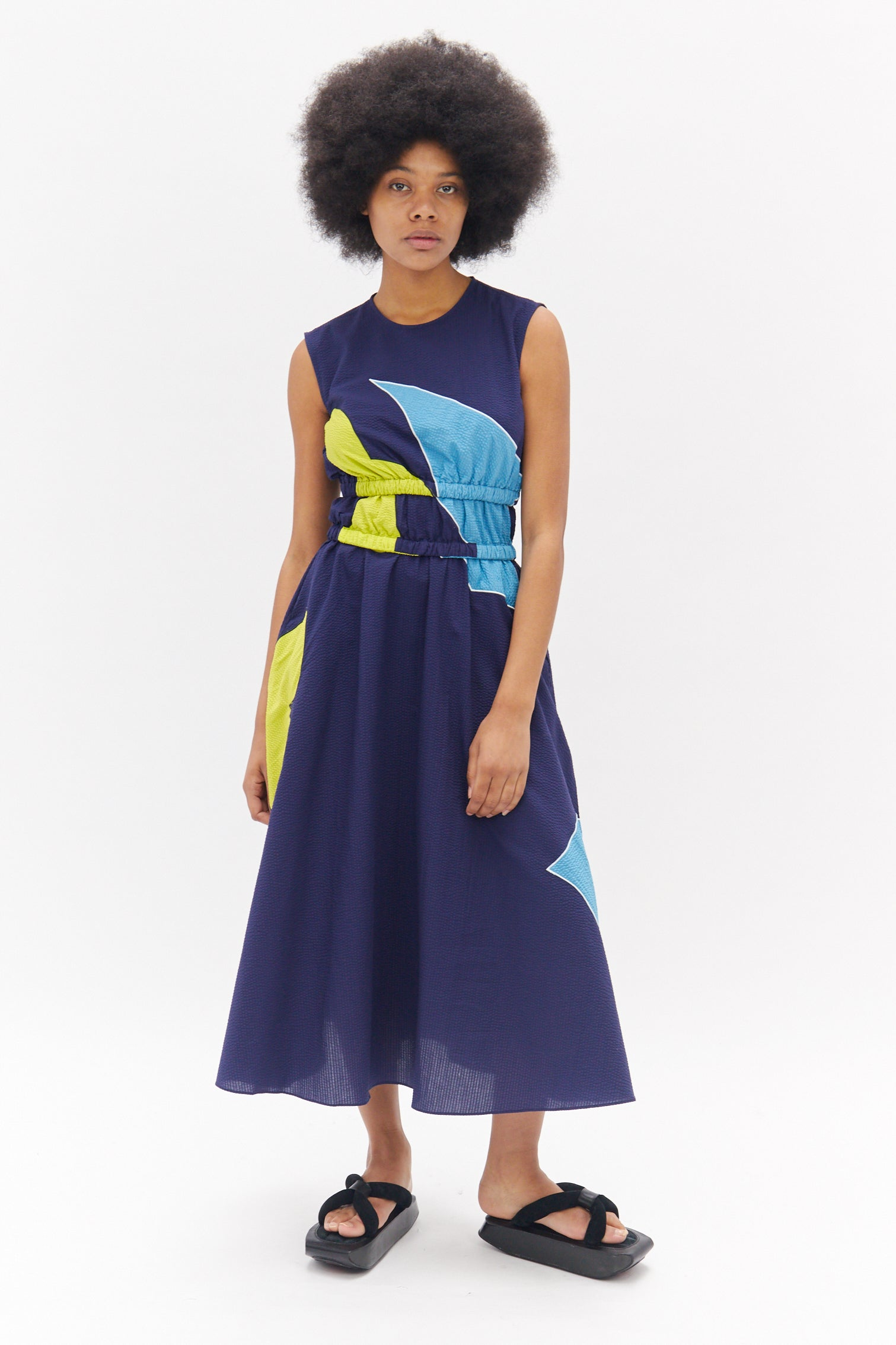 Blue Dress with Elasticated Waist and Embroidered Details