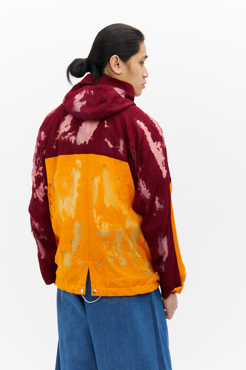 Devore Colourblock Mesh Windbreaker in Orange/Burgundy