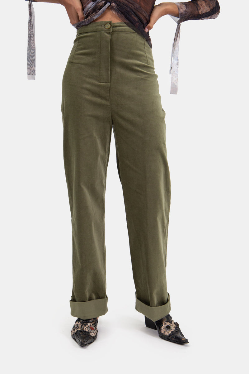 Child Pants Green Corduroy