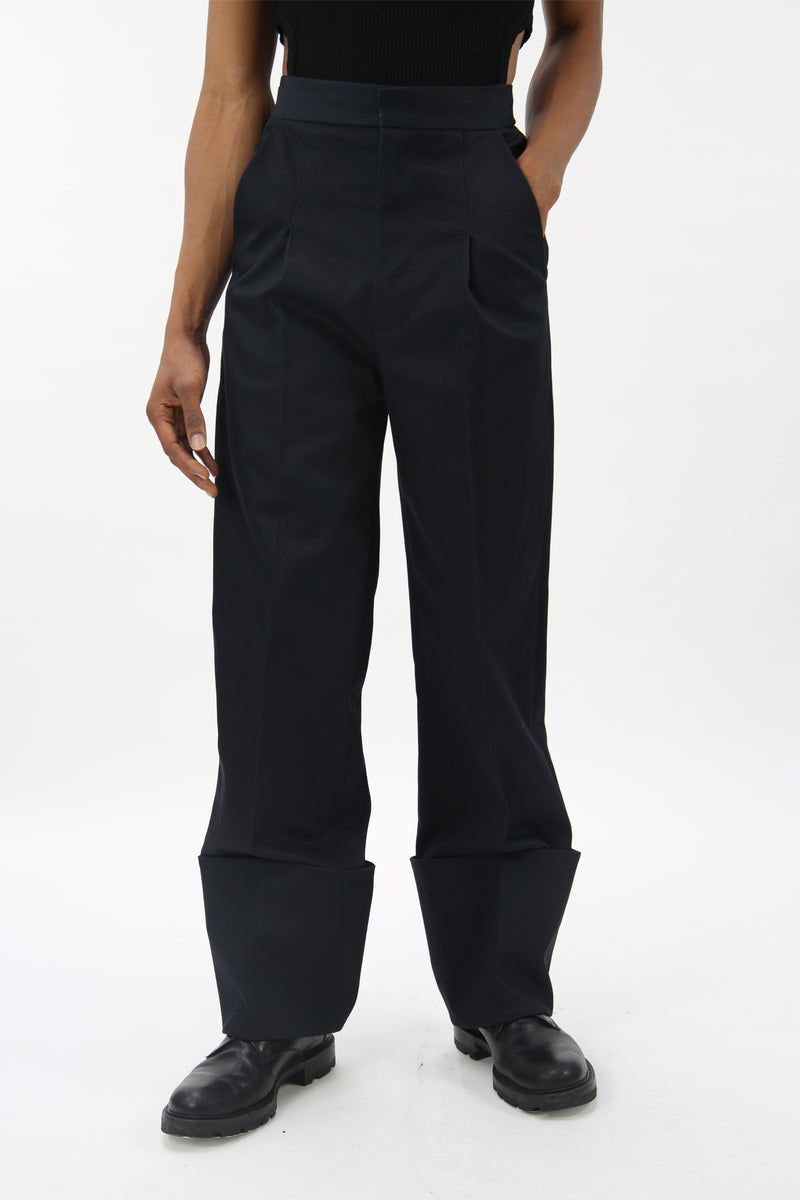 Tailored Trousers With Turn Ups Navy-50m London