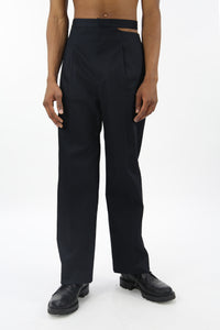 Tailored Trousers With Slit Navy-50m London