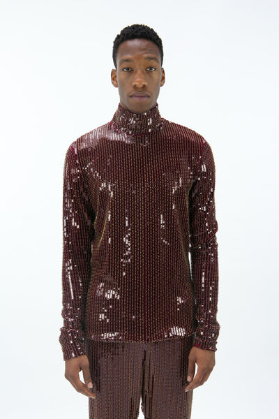 Sci-fi Bordeaux and Gold Sequin Top