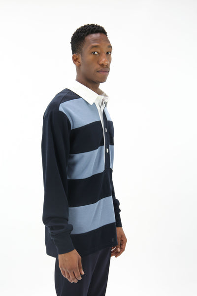 Stripe Rugby Shirt Navy