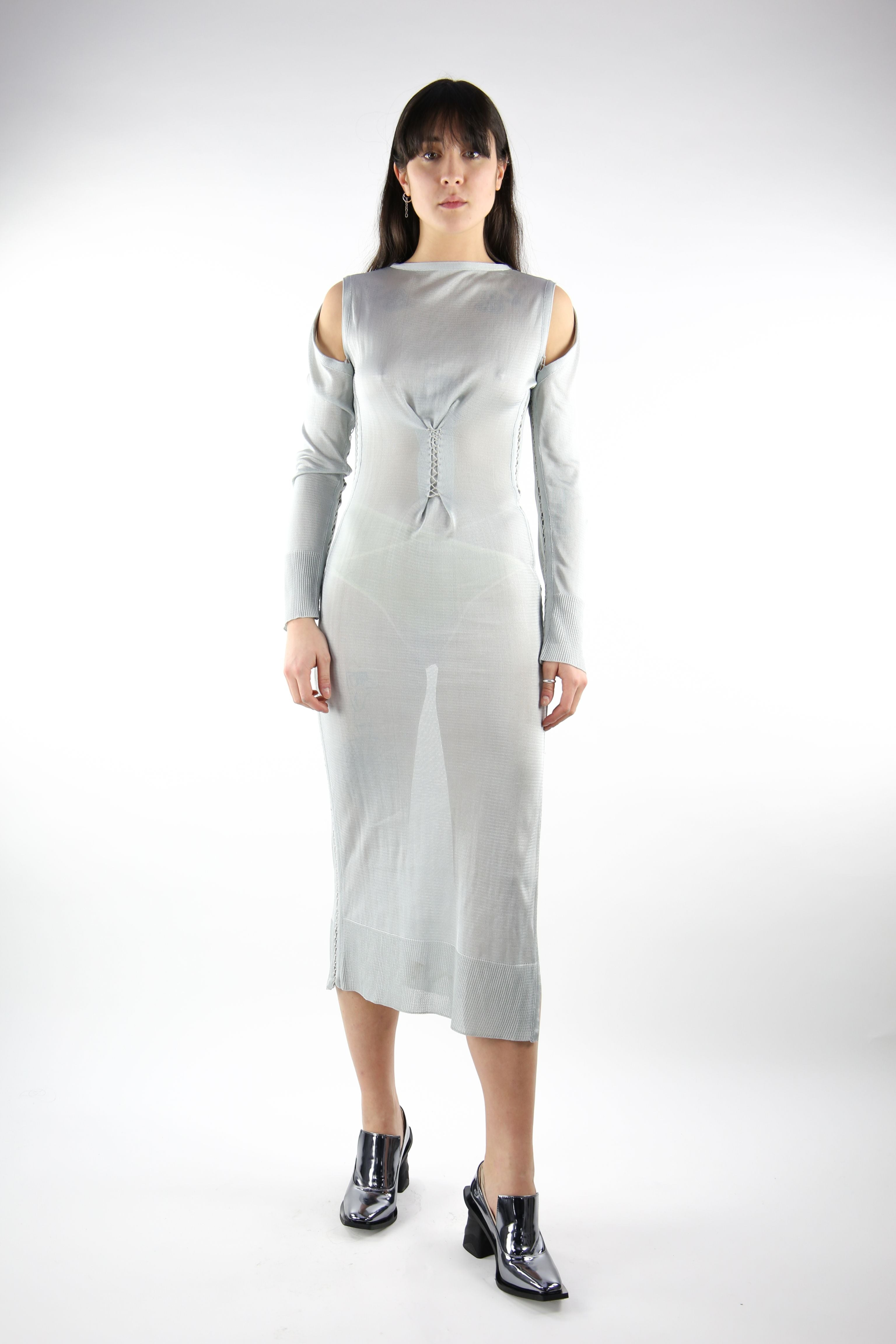 Long Sleeve Rayon Slip Dress Silver-50m London