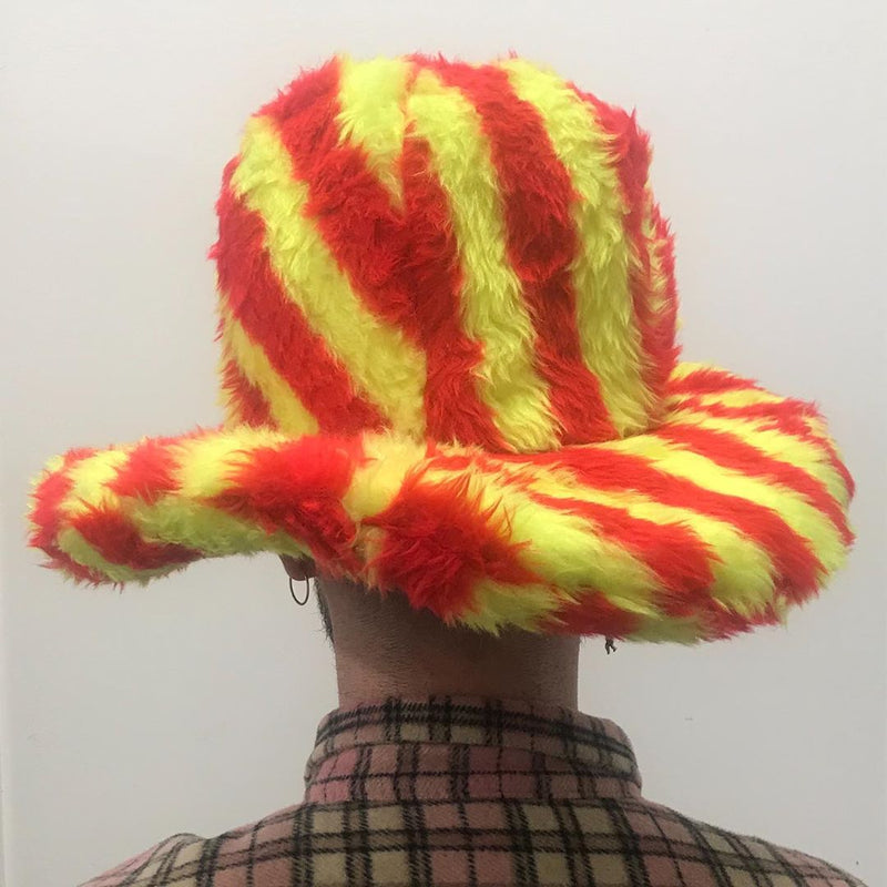 Red & Yellow Stripe Fluffy Hat