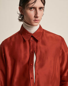 Silk Signature Shirt With Slit Red-50m London