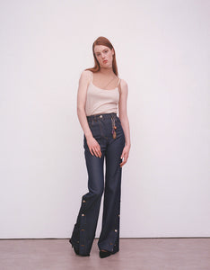 Wool Denim Button Flares