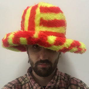 Red & Yellow Stripe Fluffy Hat-50m London