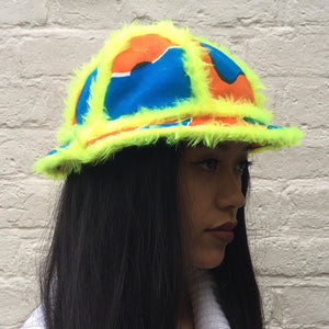 Bell Bucket Hat With Yellow Fluffy Trim