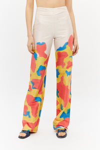 Silk hand painted trousers