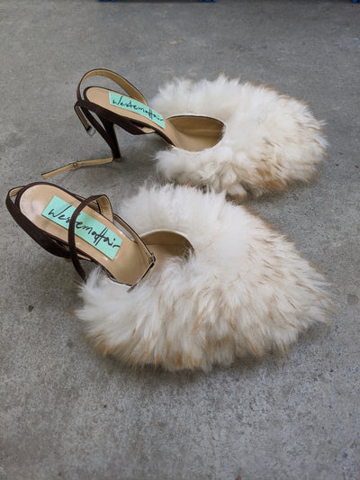 Long Hair Beige Fluffy Heels
