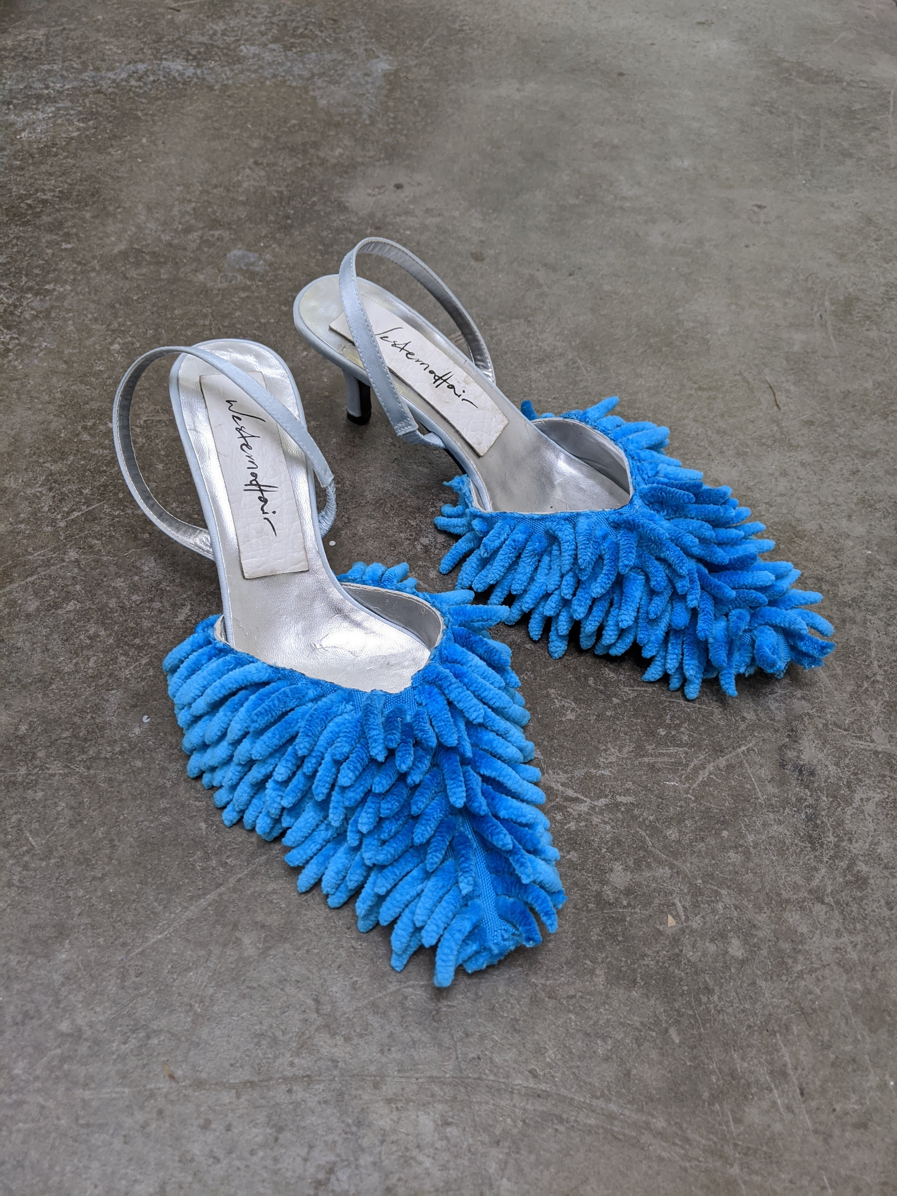 Blue Fluffy Mop Mules