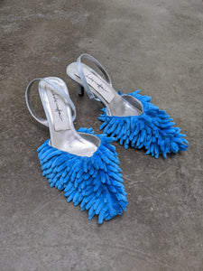 Blue Fluffy Mop Mules - 50m