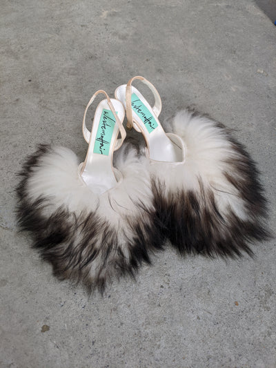 Long Hair Black & White Fluffy Heels-50m London