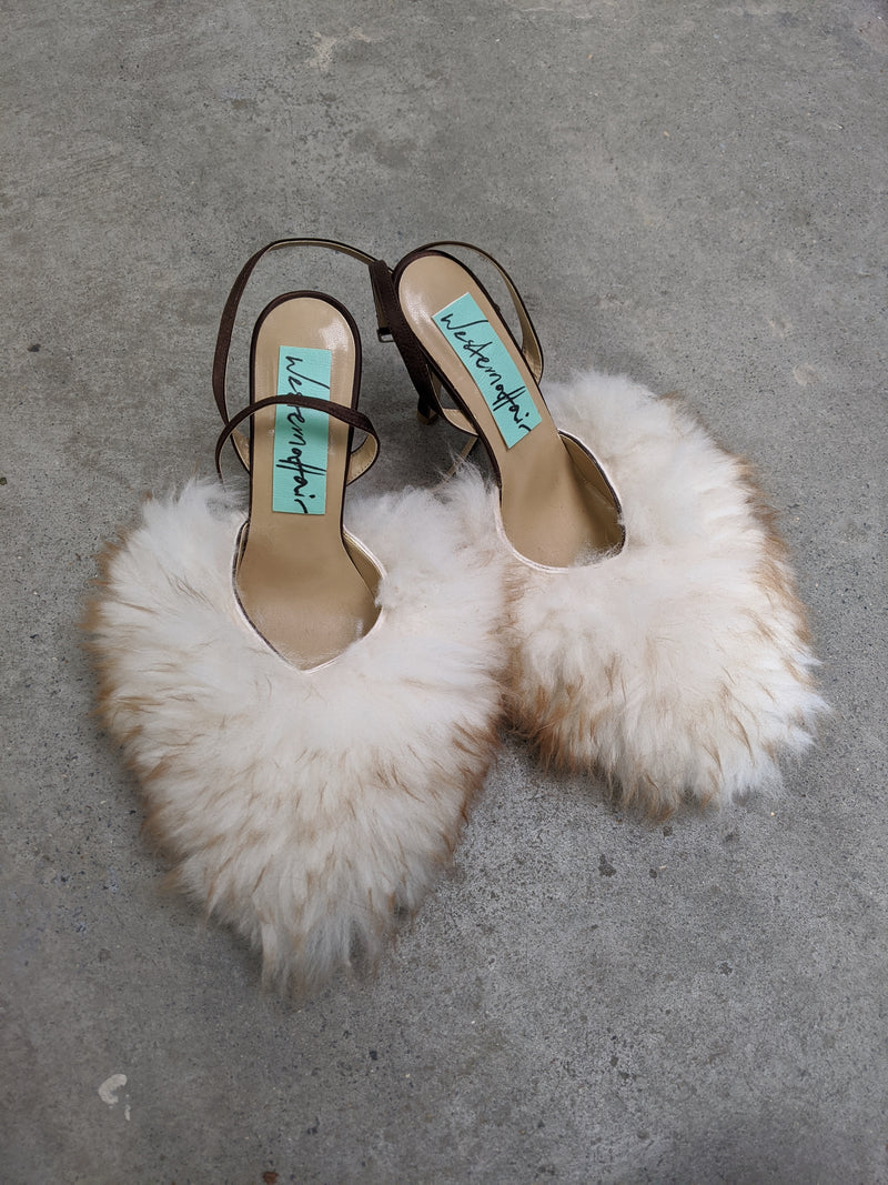 Long Hair Beige Fluffy Heels-50m London