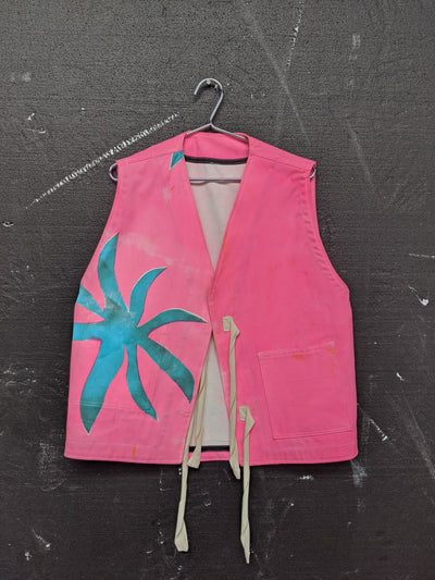 Handpainted One Flower Vest Jacket-50m London