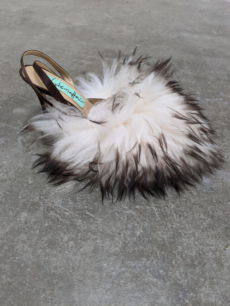 Long Hair Black & White Fluffy Heels