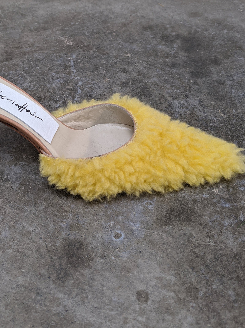 Yellow Fuzzy Fur Mules