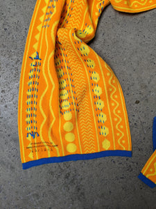 Large Orange/Yellow Hand Embroidered Scarf-50m London