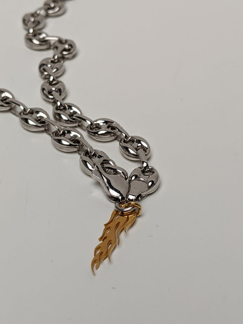 Gold Flame Pendant Necklace