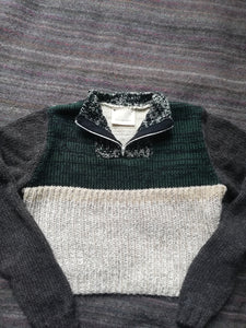 Green melange zip jumper