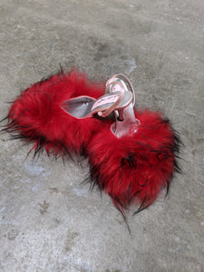 Red With Black Flecks Fluffy Mules