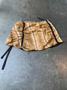 Ruched Mini Skirt - Upcycled curtain-50m London