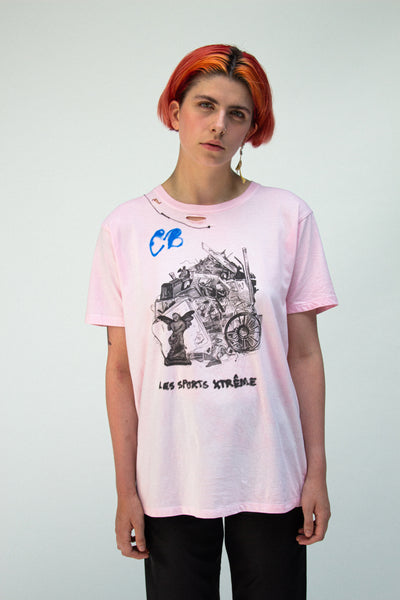 Trash Barricade T-shirt Pink