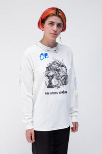 Trash Barricade Long Sleeeve T-Shirt White