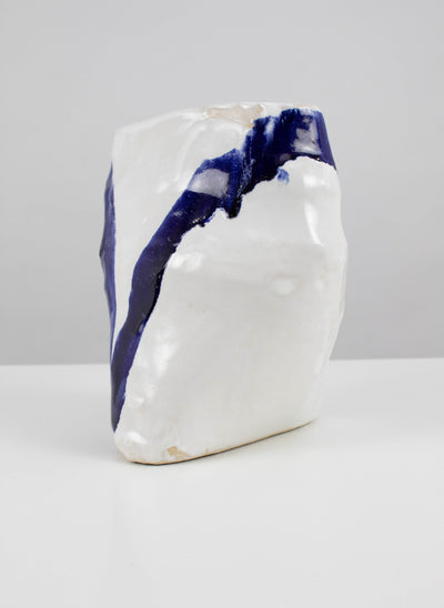 Off-axis vase with blue line