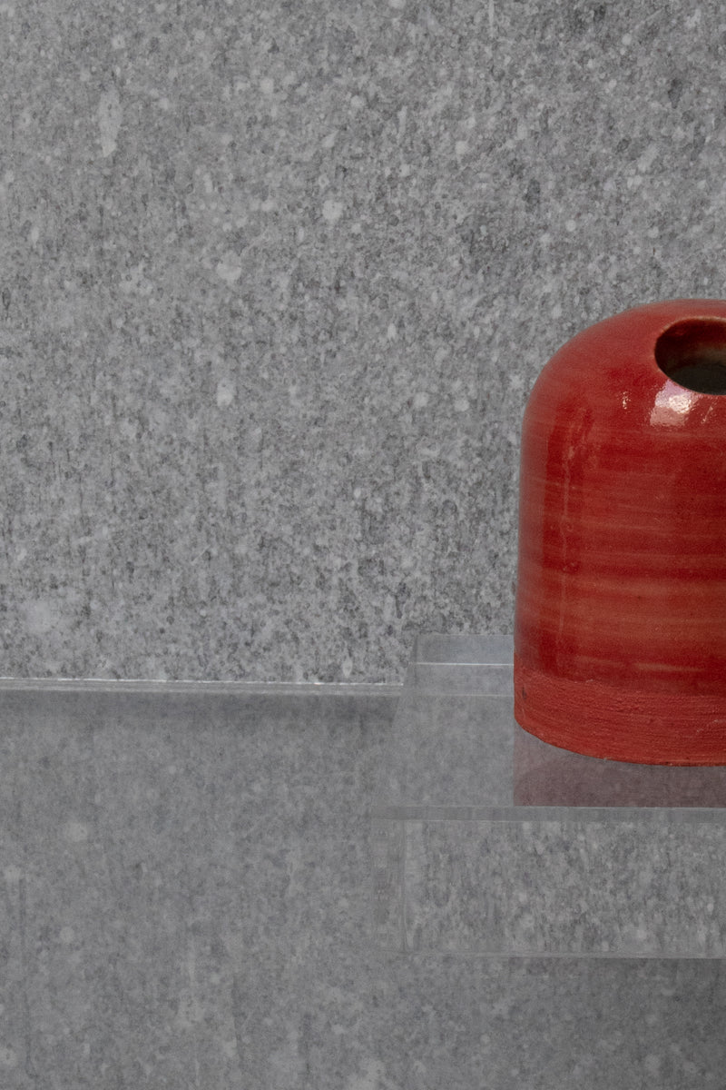 Short Upright Red Ceramic Sculpture