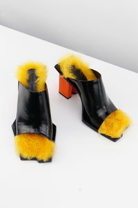 Fur Sandals Yellow