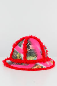 Bell Bucket Hat With Red Fluffy Trim