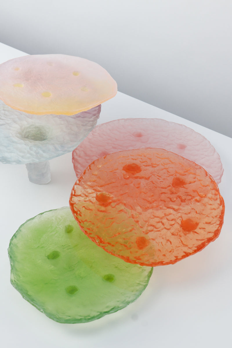 Tray In Resin Glass Cast Orange