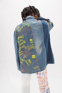 Screen Printed and Embroidered Prison Messages Denim Jacket - MTO