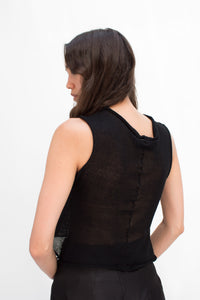Silk Sleeveless Top in Black - MTO