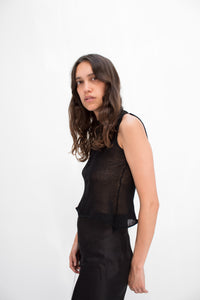 Silk Sleeveless Top in Black