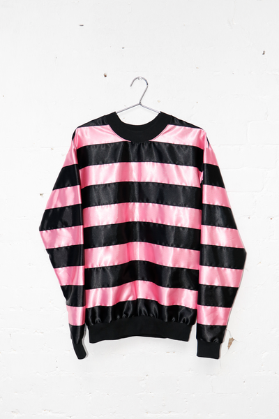 Pink/Black Ribbon Stripe Rugby Top