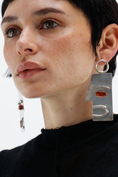 Amber and Silver Face Earrings